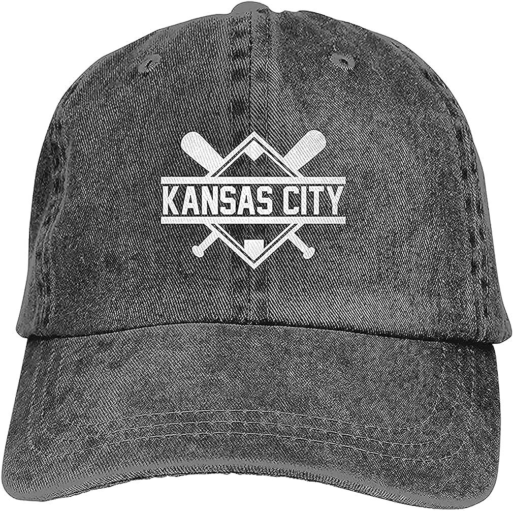 Kansas City Baseball Baseball Cap,Adjustable Sun Hats Hip Hop Hat for Men Women Black