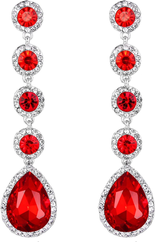 BriLove Women's Elegant Wedding Bridal Crystal Beaded Teardrop Chandelier Dangle Earrings