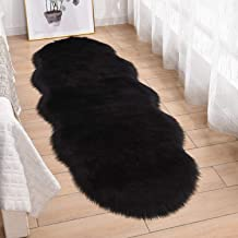 HEBE 2'x5' Sheepskin Faux Fur Rug Runner Soft Sheep Skin Fur Chair Couch Cover Shaggy Area Throw Rug Nursery Rugs for Bedr...