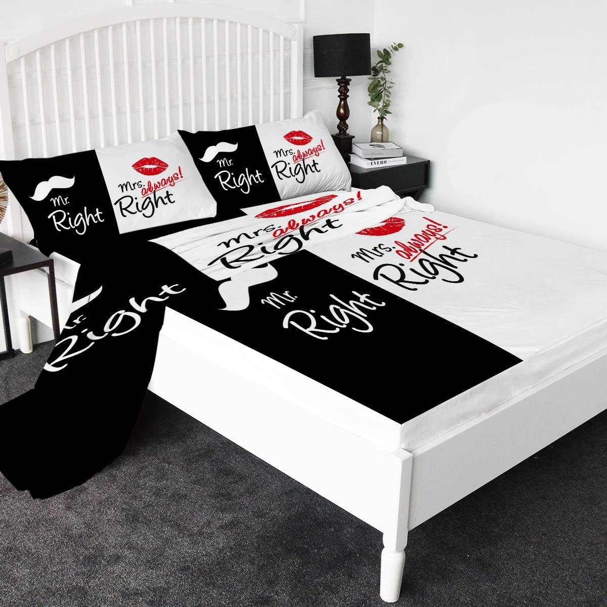 休日 Sleepwish Black and White Sheet Set Righ Right Mr. Mrs. デポー Always