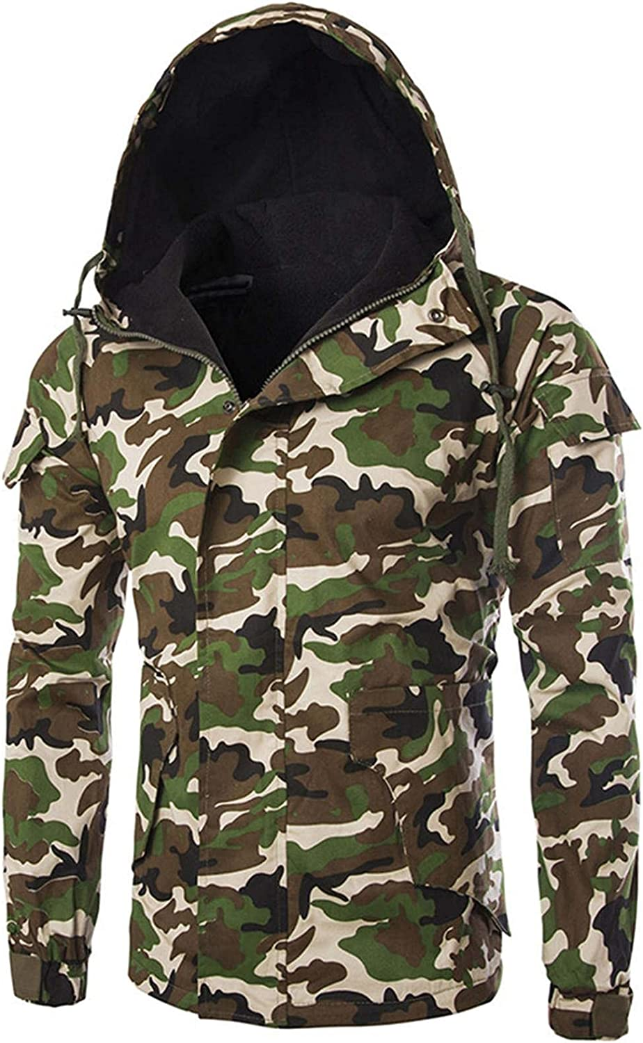 XUNFUN Men's Camo Hooded Down Jackets Thicken Warm Military Style Winter Coats Packable Puffer Jacket with Muti Pockets