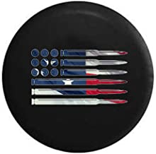 Rifle Pistol Bullets Rounds American Flag 2A American Flag Spare Tire Cover fits SUV Camper RV Accessories Black 35 in