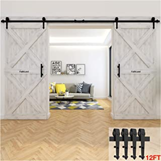 FaithLand 12FT Double Sliding Barn Door Hardware Track Kit for Wood Door Closet - 12 Foot Rail Kit Double Door - Heavy Duty - Ultra Smooth Quiet - Seamless Rail connector - Tested Beyond 120,000 Rolls