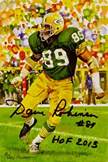 Dave Robinson Autographed Green Bay Packers Goal Line Art Card w/HOF - Jersey Source Auth