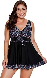 3f8abef06ac36 Lalagen Women s Plus Size Two Pieces Tankini Swimdress Tribal Print Swimwear