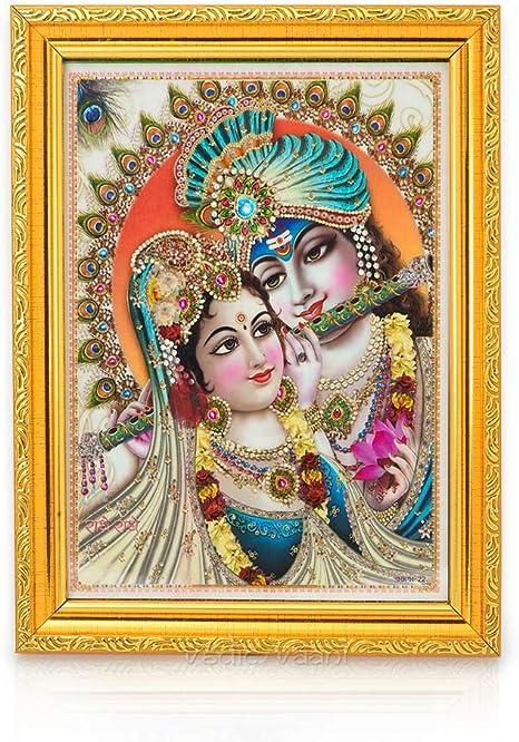 Amazon Com Vedic Vaani Beautiful Radha Krishna Home Decorative Painting Photo With Golden Wooden Frame Home Kitchen