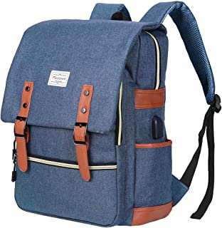 Modoker Vintage Laptop Backpack Women Men,School College Backpack USB Charging Port Fashion Backpack Fits 15 inch Notebook (Blue)