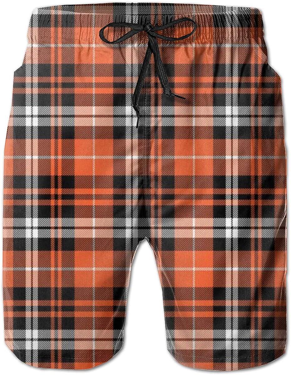 Pumpkin Max 84% OFF Fall Plaid Orange Summer Surf P New product! New type Shorts Trunks Swim Beach
