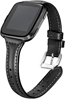 bayite Bands Compatible with Fitbit Versa 2 / Fitbit Versa Lite/Fitbit Versa, Slim Genuine Leather Band Replacement Access...
