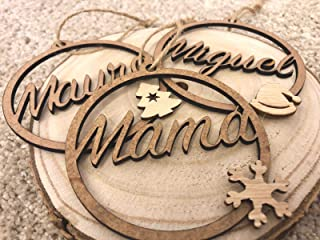 Bolas de navidad de madera personalizadas con nombre. Cordel incluido. Adornos navideños