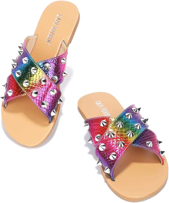 Cape Robbin Alexander Sandals Slides for Women, Studded Womens Mules Slip On Shoes