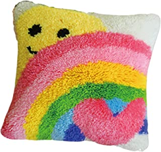 DIY Latch Hook Kit Crochet Cushion Cover Pillowcase Yarn Cross Stitch Kits Fit for Kids Adults and Beginners Embroidery Ki...