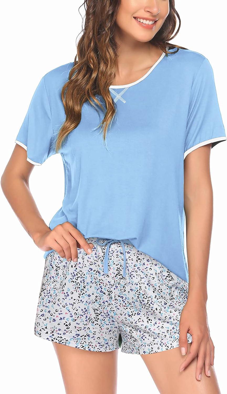 Ekouaer Pajamas Women Cheap mail order sales Fashionable Short Sleeve Plaid Cute Sleepw with Shorts