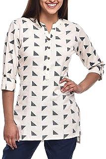 Ladyline Women's Pure Cotton Printed Tunic Top 3/4 Sleeves Roll-up Button Neck Short Kurti Kurta