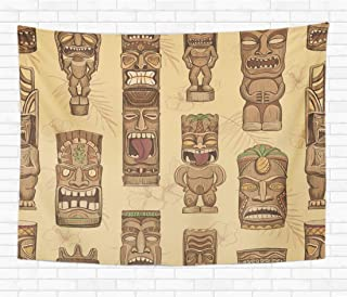 Topyee Home Decorative Tapestry Wall Hanging Brown Bar Collection of Wooden Tiki Idols Hawaii Mask 60x80 Inch Tapestries Wall Blanket for Dorm Living Room Bedroom