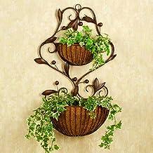 Flor Estante de Flores de Hierro de Estilo Europeo Sala de Estar de Interior Pared de la Pared Olla Rack (Color : Brown)