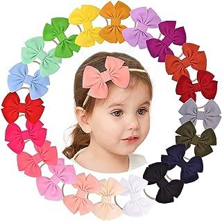 20 قطعة من ربطات الشعر للبنات الصغار من النايلون - إكسسوارات شعر مرنة للأطفال الرضع والأطفال الصغار
