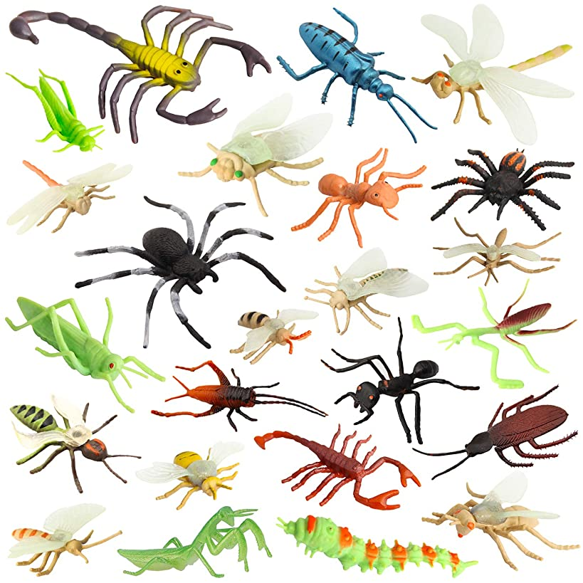 """Pinowu Insect Bug Toy Figures for Kids Boys, 2-4"""" Fake Bugs - Fake Spiders, Cockroaches, Scorpions, Crickets, Lady Bugs, Mantis and Worms for Education and Christmas Party Favors (24 Pack)"""