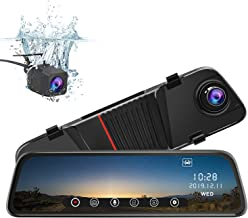 junsun Mirror Dash Cam Front and Rear, 10 Inch Touch Screen Front 1080P Rear View 1080P Dual Lens 170 Degrees Wide Angle with Backup Camera G-Sensor Parking Monitor Night Vision