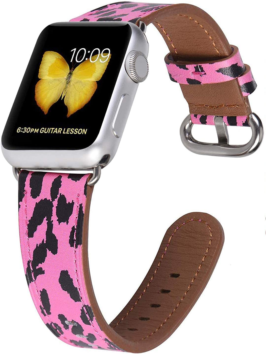JSGJMY Leather Band Compatible with Apple Watch 38mm 40mm 42mm 44mm Women Men Strap for iWatch SE Series 6 5 4 3 2 1(Hot Pink Leopard with Silver Clasp,38mm/40mm S/M)