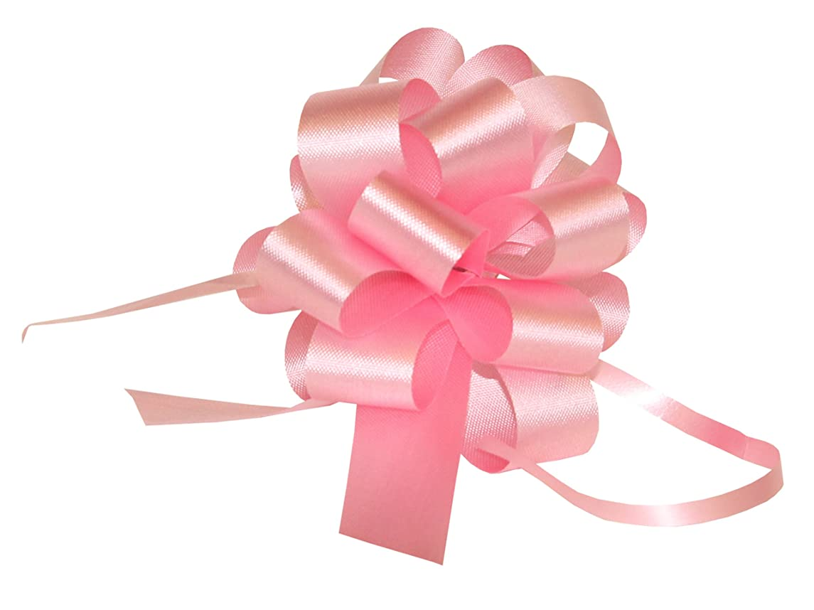 Premier Packaging AMZ-PF502 25 Count Flora Satin Pull Bow, 4 by 18-Inch Loop, Pink