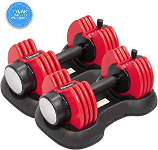 ELEVENS Adjustable Dumbbells - 27.5 lbs Weight Set with Handle and Weight Plate for Gym and Home, Black