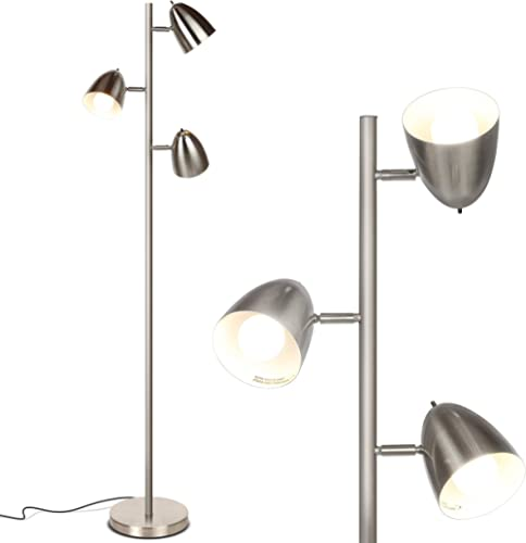 Brightech Jacob - LED Reading and Floor Lamp for Living Rooms & Bedrooms - Classy, Mid Century Modern Adjustable 3 Li...