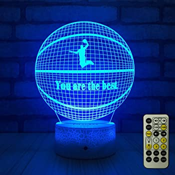 FlyonSea Basketball Beside 7 Colors Change + Remote Control with Timer Night Light Optical Illusion Lamp As a Gift Ideas for Boys or Kids