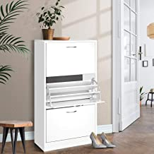 Artiss 36 Pairs Shoe Cabinet Wooden 3-Tier Adjustable Shoe Rack Shelves, White