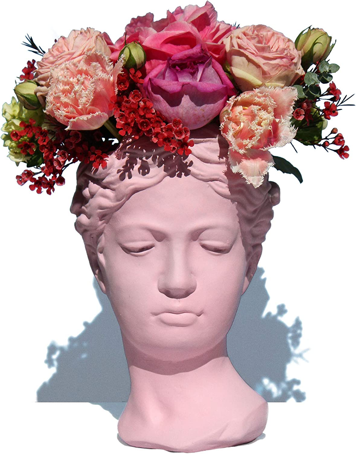 Cement Greek Bust Planter Goddess Statue Aphrodite Face Flower Pot for Indoor Outdoor 10,5 Inches No Plant (Pink)