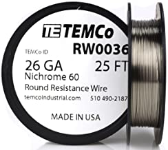 TEMCo Nichrome 60 series wire 26 Gauge 25 Ft Resistance AWG ga
