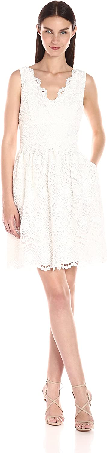 Adrianna Papell Womens Vneck Sleeveless Fit & Flare Lace Dress Dress