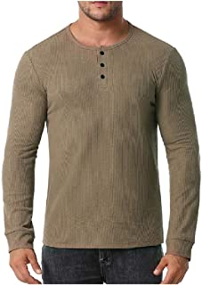 Comaba Men Pure Colour Long-Sleeve T-Shirt Top O-Neck Big & Tall T-Shirt Top