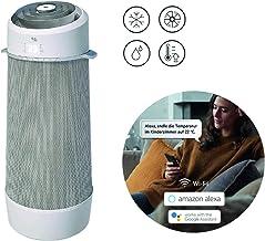 AEG PX71-265WT Eco mobiles Klimagerät Spiralförmiger Luftstrom, App-Steuerung, Spracherkennung, Fernbedienung, inkl. Fenster-Kit, Kühlen, Heizen, Ventilator, Entfeuchten, Automatik, weiß/silber