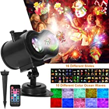 Ocean Wave Christmas Projector , 2-in-1 Remote Control Moving Patterns with Ocean Wave LED Landscape Lights Waterproof Outdoor Indoor Xmas Theme Party Yard Garden Decorations, 16 Slides 10 Colors