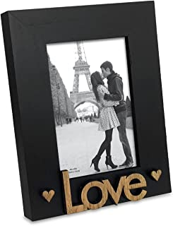 """Isaac Jacobs Black Wood Sentiments """"Love"""" Picture Frame, 4x6 inch, Photo Gift for Loved Ones, Family, Display on Tabletop, Desk (Black)"""