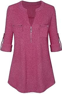 Women's V Neck Zipper Long Sleeve Roll-Up Sleeve Zip Up Casual Shirt Blouse Tops