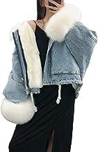 Dames Relaxed Grote Bontkraag Parka Denim Jas Streetwear Mode Notch Revers Lange Mouw Warme Jas Herfst En Winter