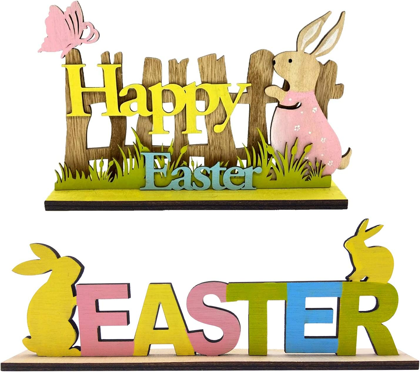 Sfcddtlg 2PCS Easter Tabletop Decoration Signs-Easter Table Centerpieces Wooden Decorations with Bunny for Spring Holiday Easter Dinner Party Coffee (2PCS)