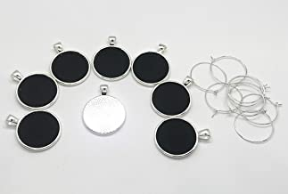 Simply Remarkable Reusable Personalized Wine Charms – 8 Mini Chalkboard Circles on Silver Plated Pendants, Can be Wiped Clean and Reused.