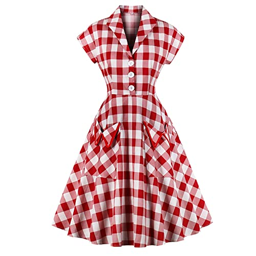 634196f47b4 Women s 1950s Vintage Cap Sleeve V Neck Plaid Swing Dress with Pockets