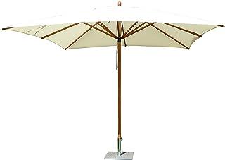 Maffei Art 155Q FIBRASOL. Parasol carré cm.300x300 en tessu PolyMa. Mat en Fibre DE Verre. Fabriqué en Italie. Couleur Ecru