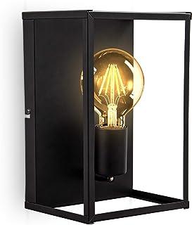 B.K.Licht I 1 lámpara de techo y pared de jaula de fuego I enchufe E27 I metal I negro mate I jaula I lámpara de techo