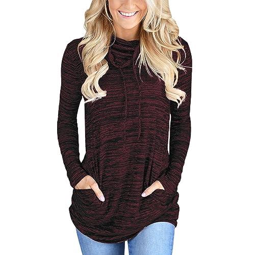 b334f20eff Bdcoco Women s Cowl Neck Long Sleeve Casual Tunic Sweatshirt Tops with  Pockets