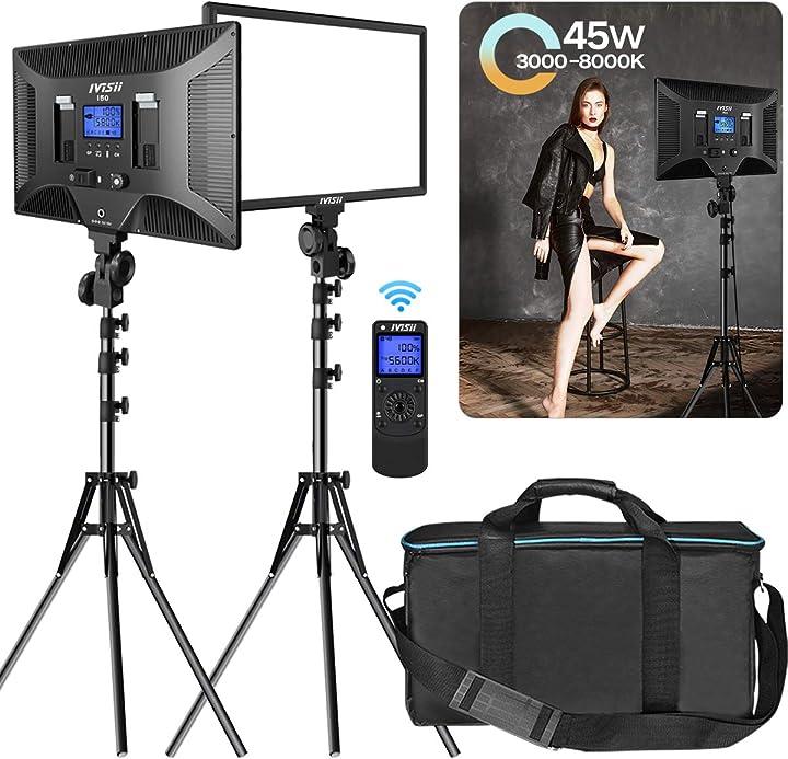 Illuminazione per fotografia bicolore cri + 97 pannello led 3000-8000k con supporto ivisii led video light IVISII-01