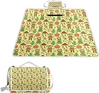 XINGAKA Manta de Picnic Impermeable,Objetos de la Cultura Mexicana con Maracas y Vihuela música Hombre Mujer Cactus Dibujos Animados,Alfombra Plegable para Camping Parque