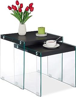 Relaxdays Mesas Nido, Set 2 Unidades, Mesitas Auxiliares de Diseño Cuadradas, Cristal-DM, 40-45 cm de Alto, Negro