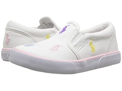 Polo Ralph Lauren Kids Bal Harbour Repeat (Toddler) (White Canvas/Pastel Multi Pony) Girls Shoes