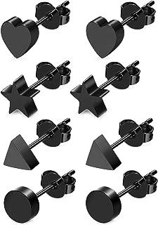 4 Pairs Heart Stainless Steel Stud Earrings for Women Girls Star Earrings