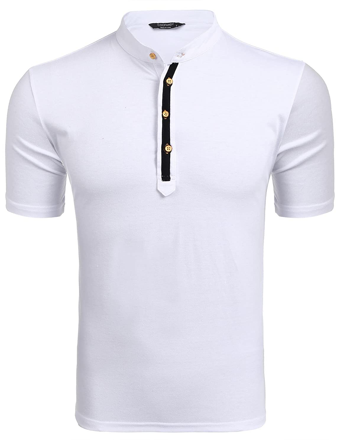 COOFANDY Men's Casual Slim Fit Henley T Shirts Button Short Sleeve Tees